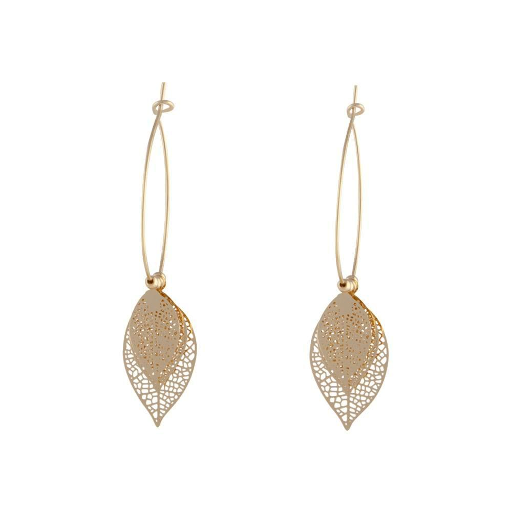Gold Tone Filigree Leaves On Hoop Earring