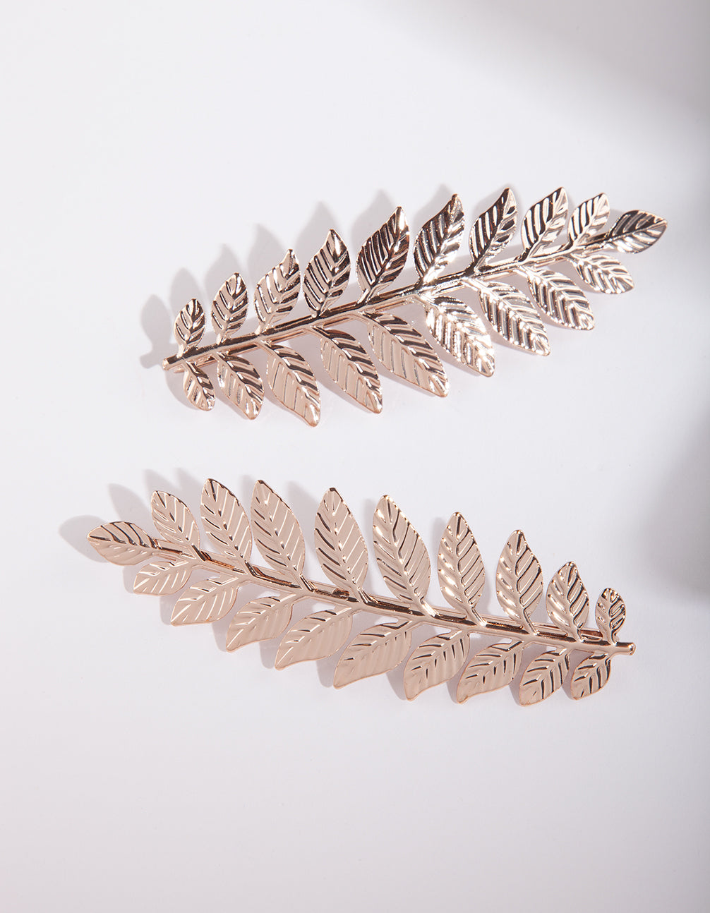 Rose Gold Leaf Hair Clip Duo Pack