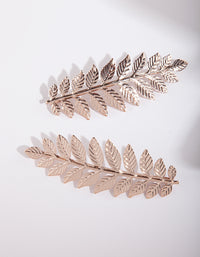 Rose Gold Leaf Hair Clip Duo Pack - link has visual effect only