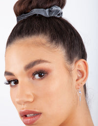 Grey Pink Black Velvet Scrunchie 3 Pack