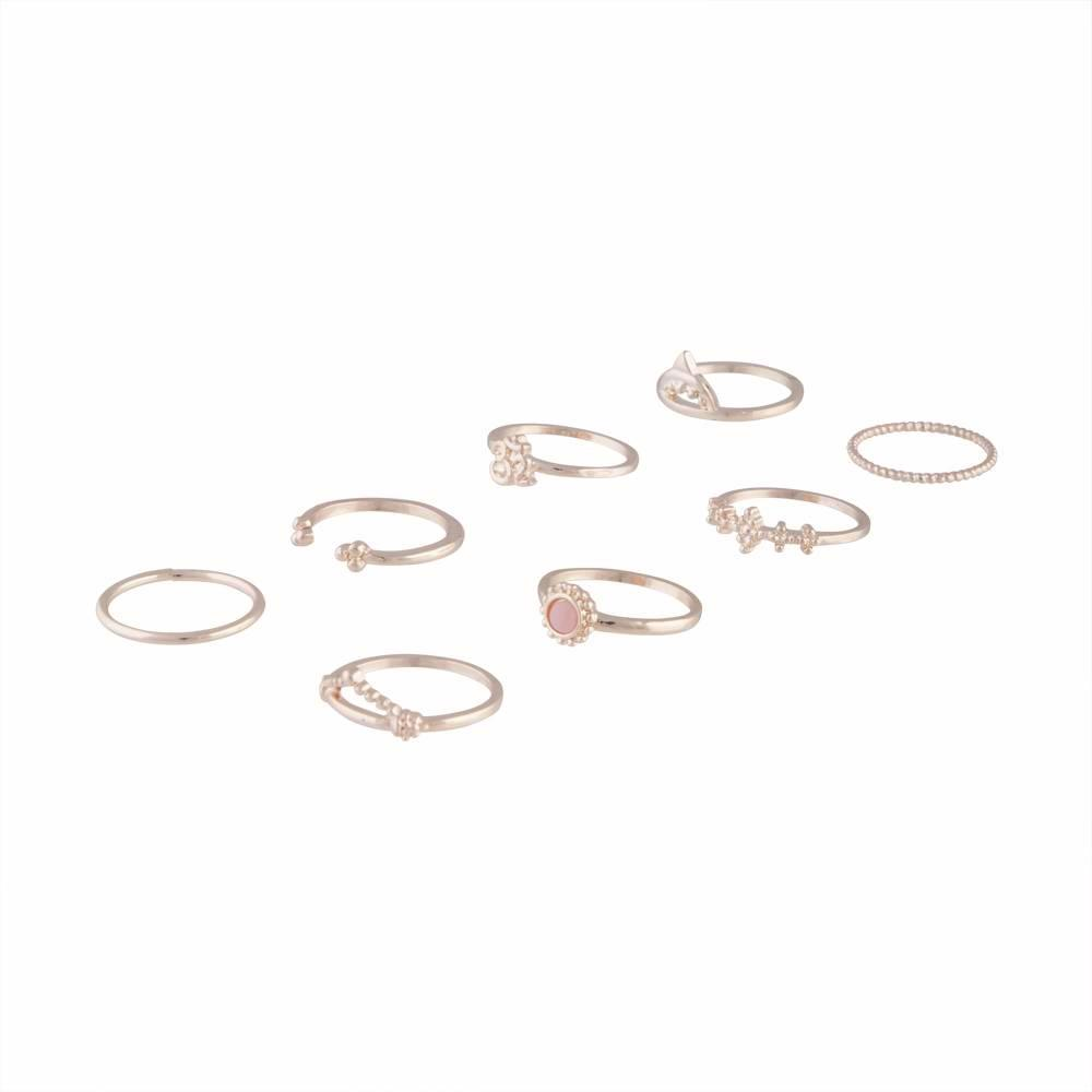 Rose Gold Fine Embellished Ring Pack