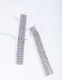 Rhodium Triple Diamante Earring - link has visual effect only