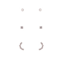 925 Sterling Silver Diamante Stud Earring 3 Pack - link has visual effect only