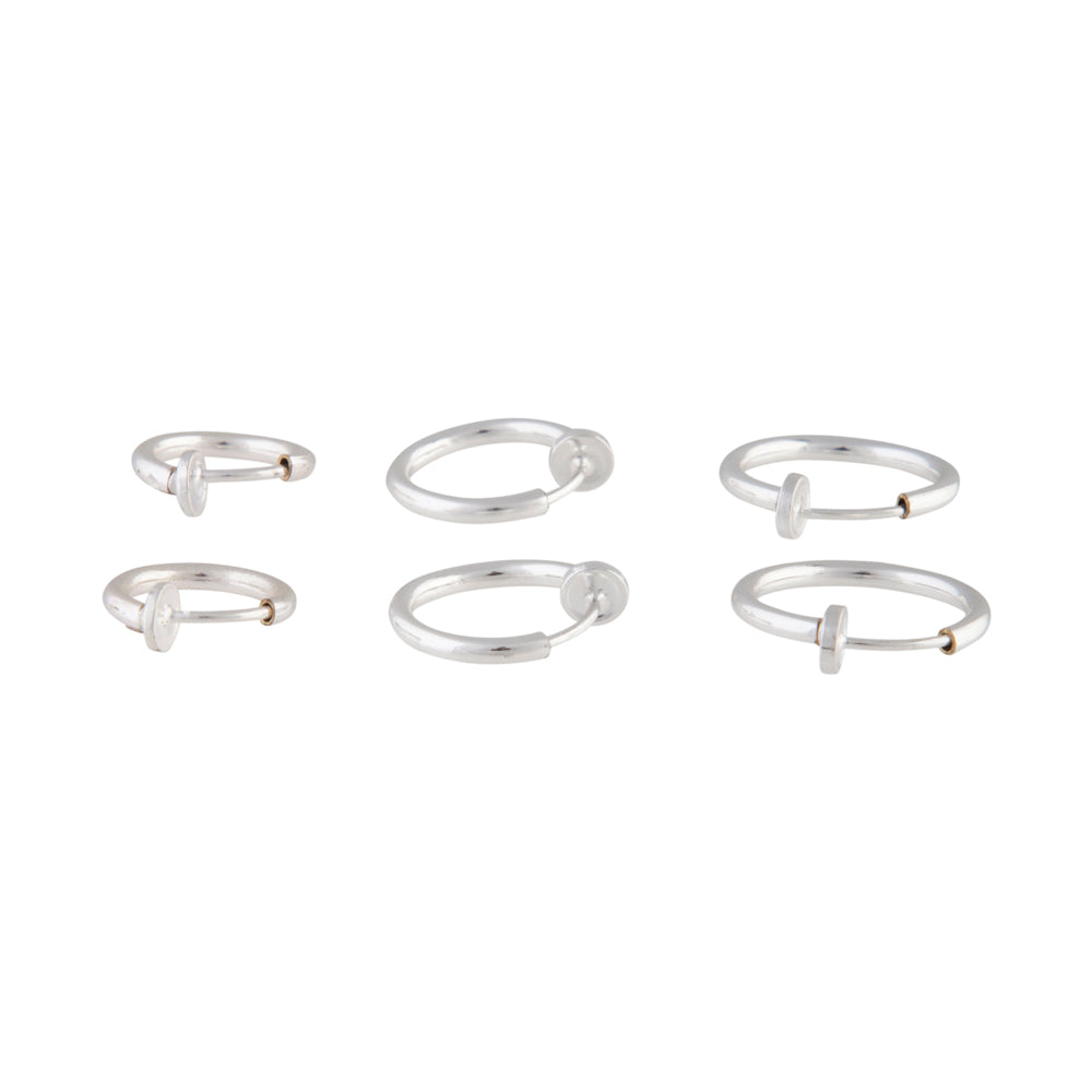 SILVER FAUX BODY RINGS 6 PACK