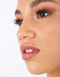 Gold Lip Ear And Nose Fake Hoop Pack - link has visual effect only