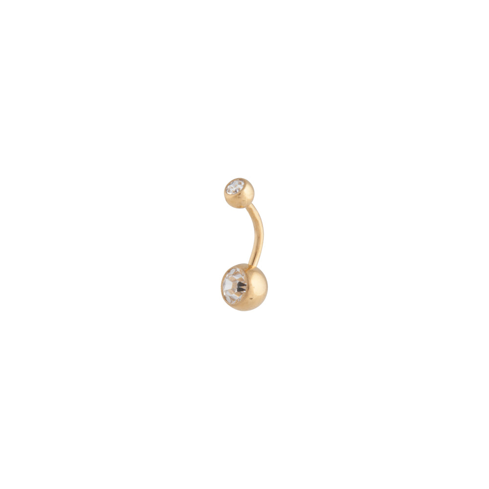 Gold Diamante Ball Belly Bar