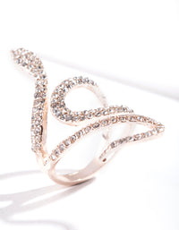 Rose Gold Diamante Snake Swirl Ring - link has visual effect only