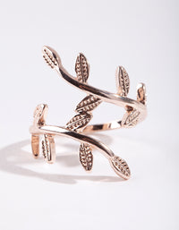 Rose Gold Leaf Double Band Ring - link has visual effect only
