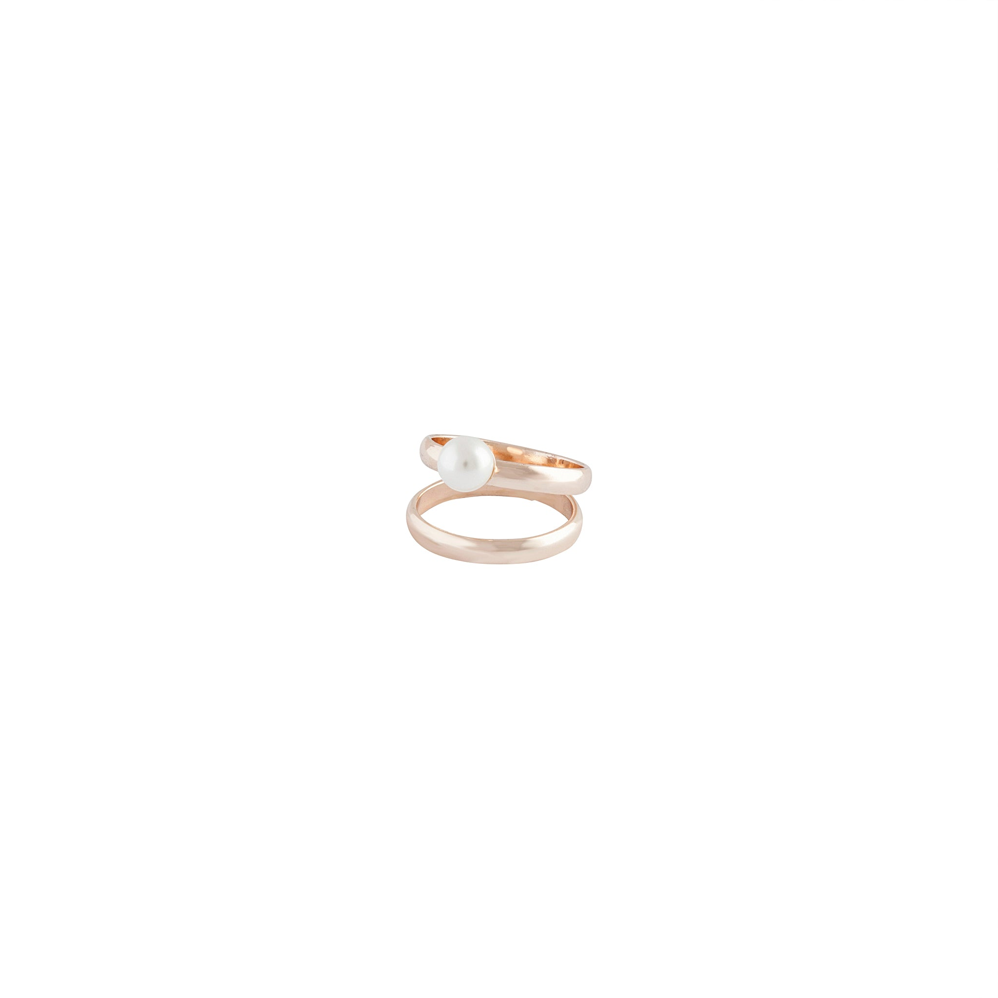 Rose Gold Double Band Pearl Ring