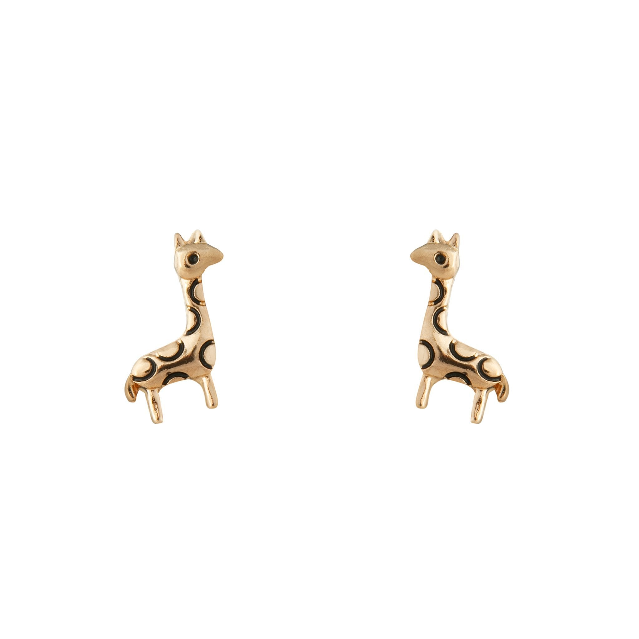 Gold Etched Giraffe Stud Earring