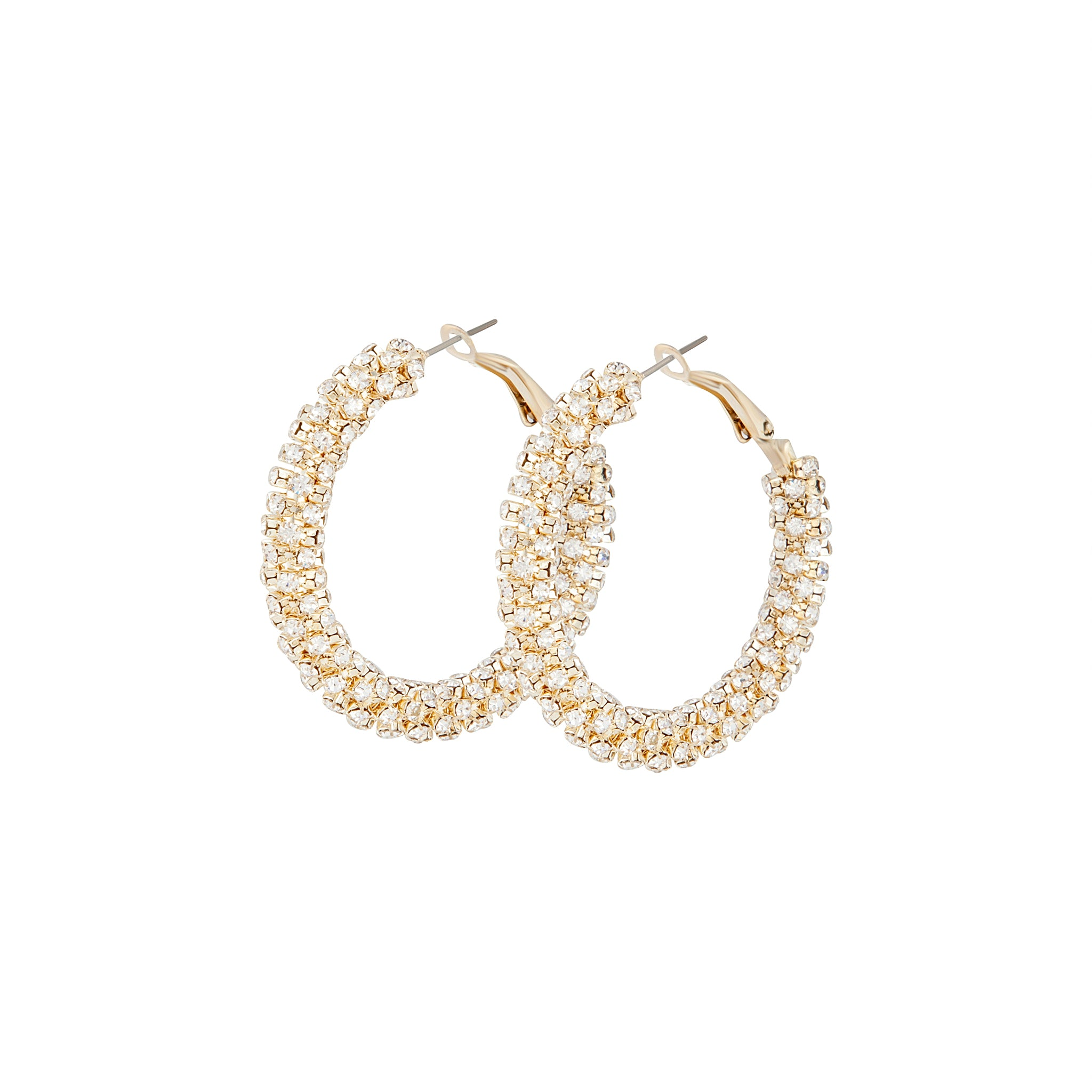 Gold Cup Chain Diamante Hoop Earring
