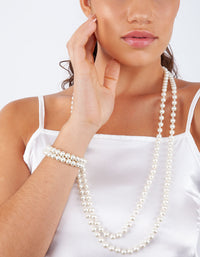 Long Strand Pearl Bracelet Necklace Set