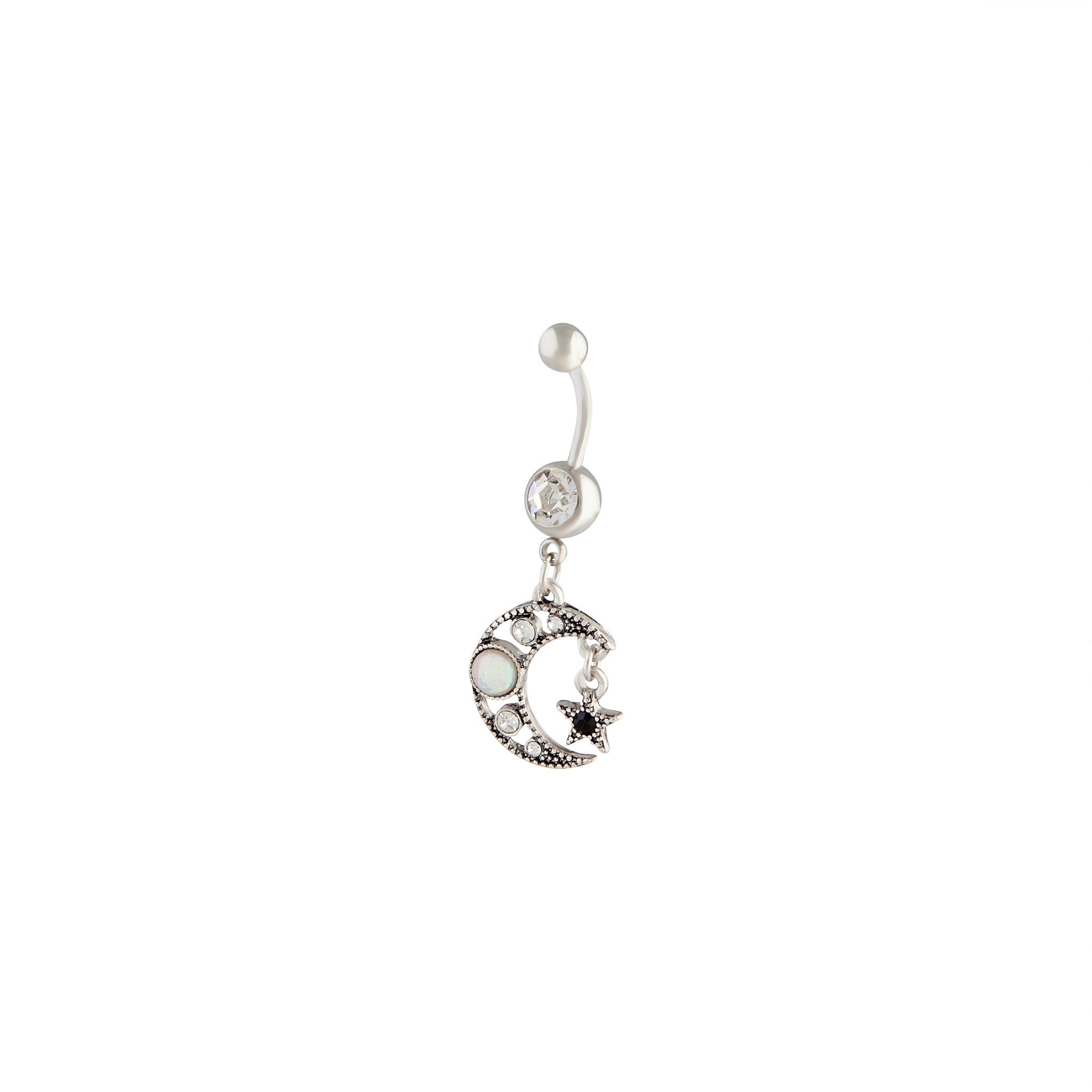 Surgical Steel Moon Star Belly Bar