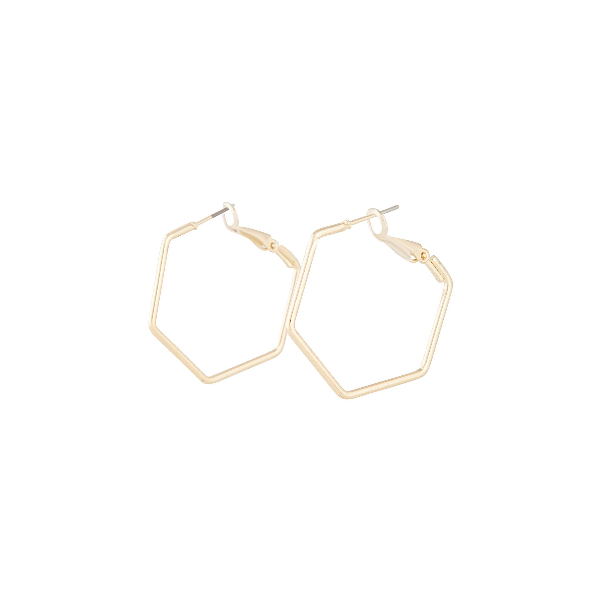 Gold Hexagon Hoop Earring