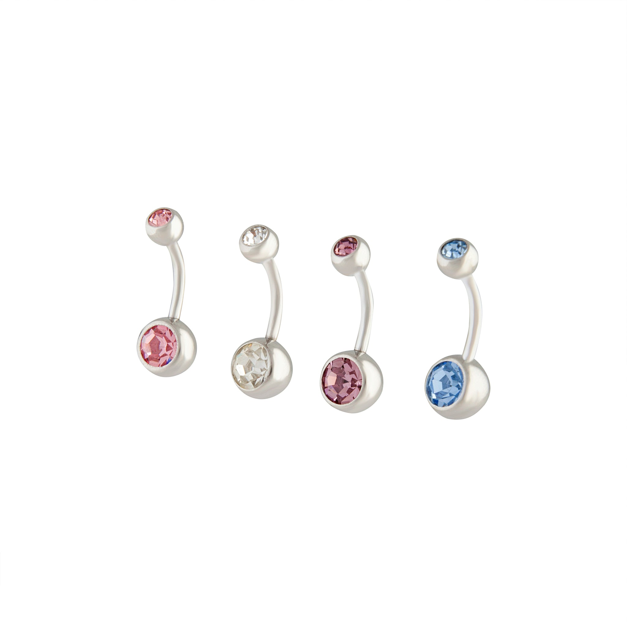 Rhodium Mixed Metal Belly Bar 4 Pack