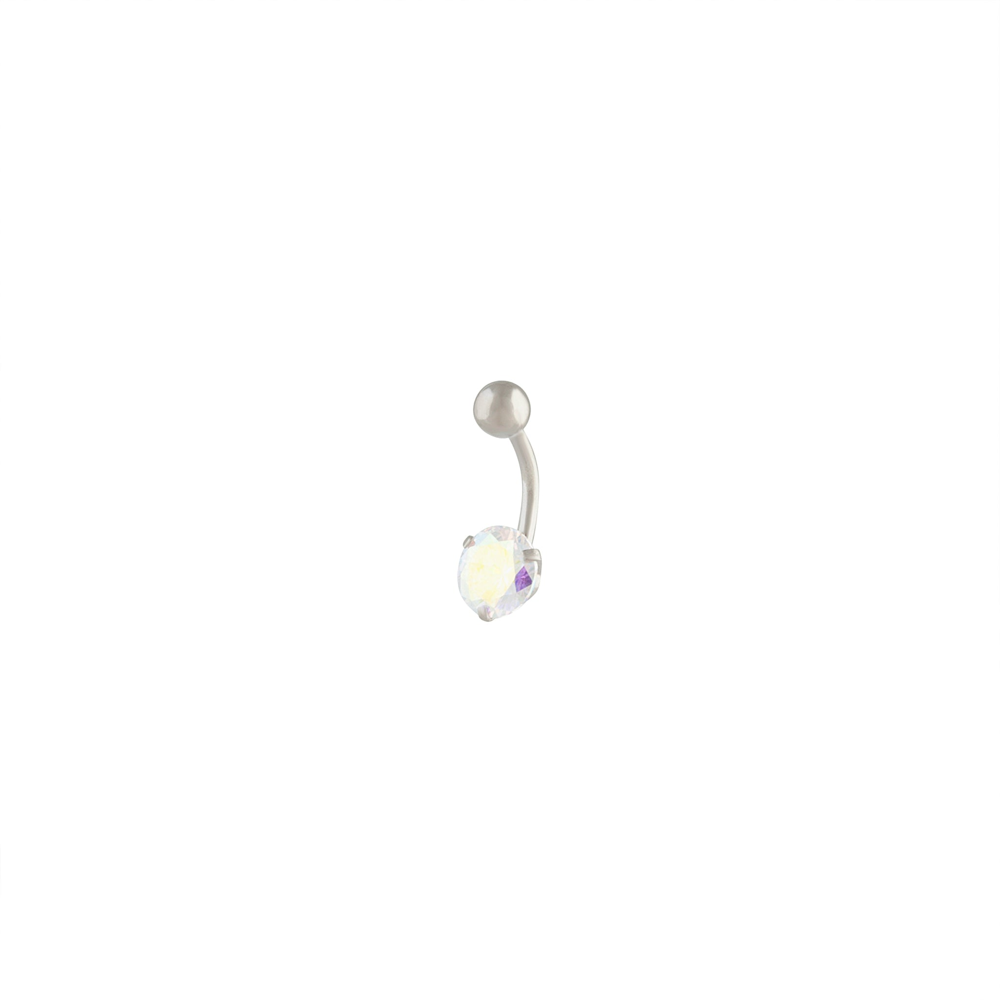 Silver Crystal Stone Claw Belly Bar