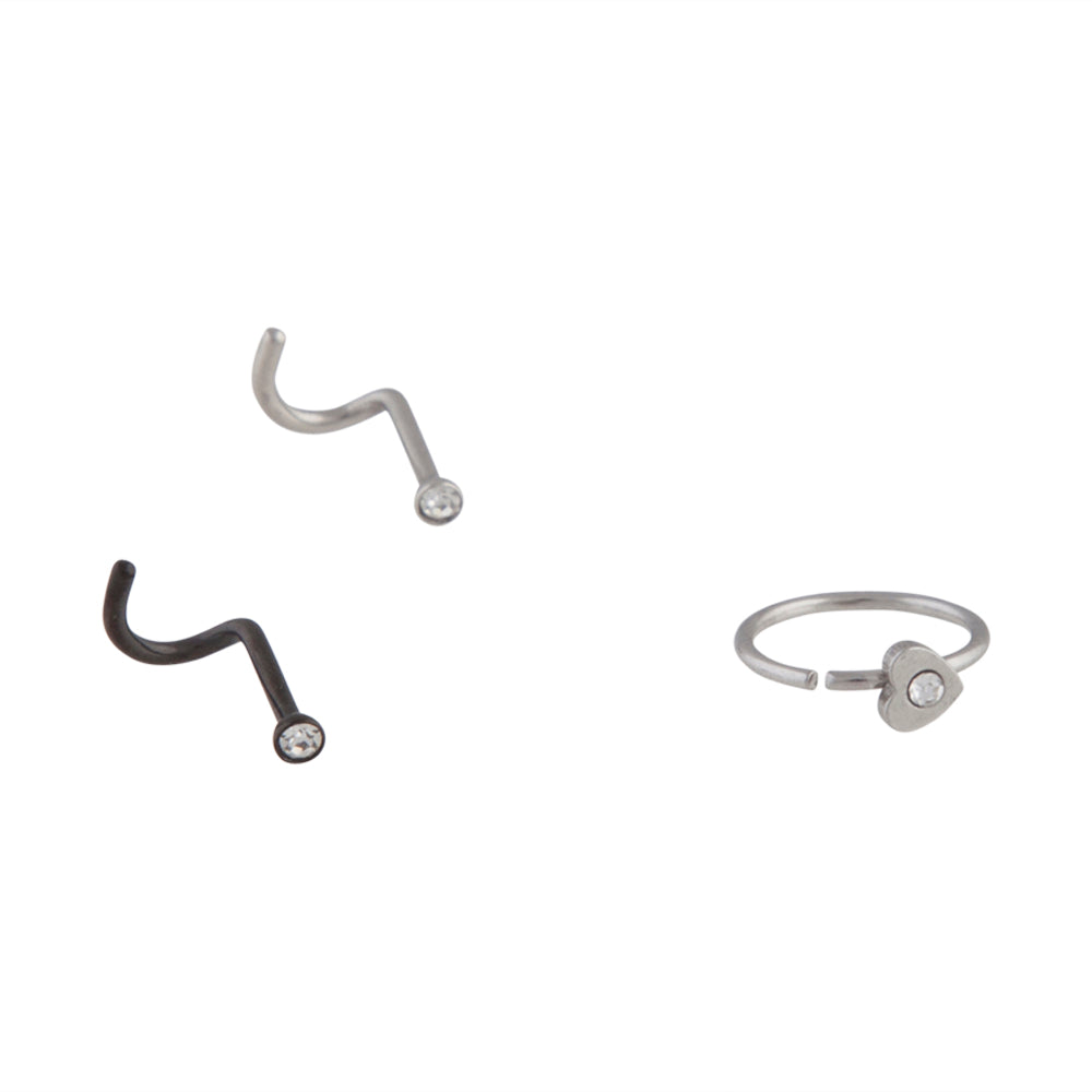 Mixed Metal Diamante Nose Stud Ring 3 Pack
