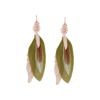 Rose Gold and Green Multi Feather Earring