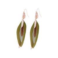 Rose Gold and Green Multi Feather Earring - link has visual effect only