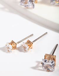 Gold Square Cut Diamante Stud Pack - link has visual effect only