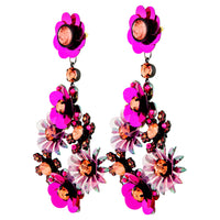 Purple Gunmetal Sequin Flower Statement Earring