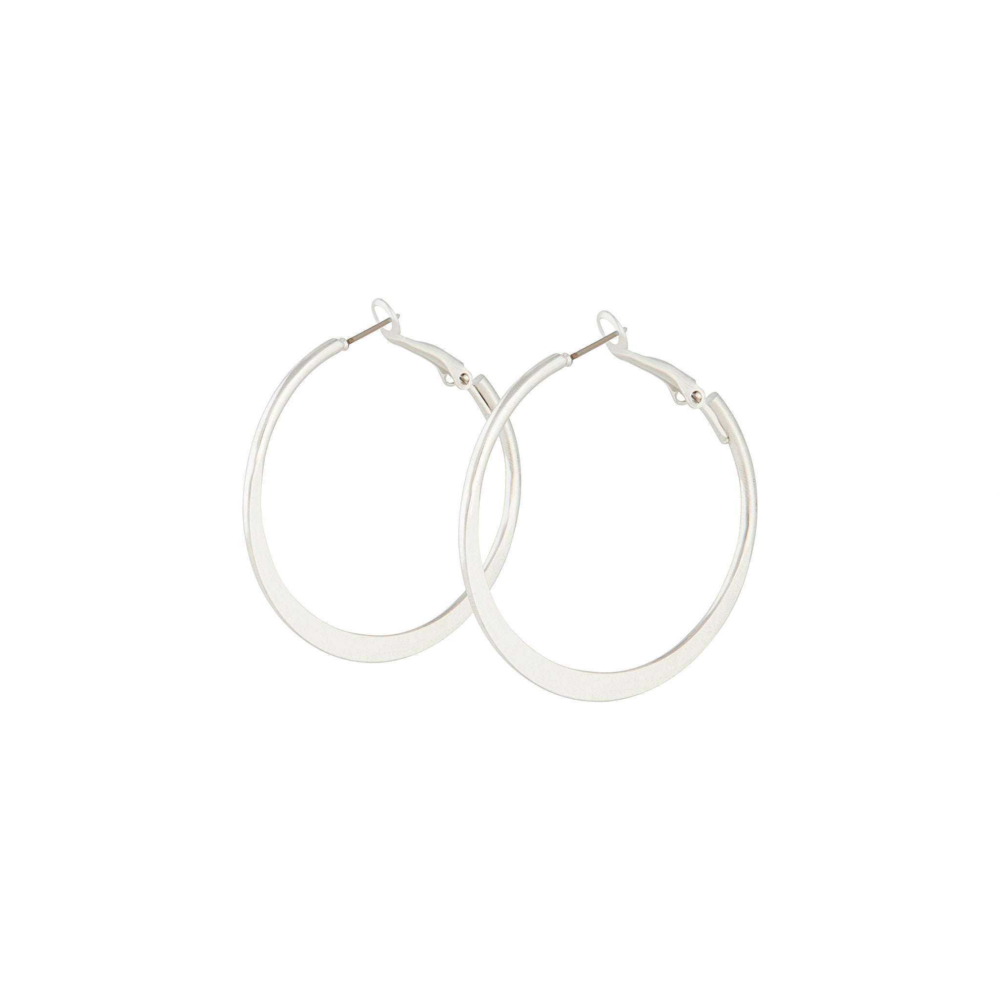 Silver Flat Bottom Hoop Earrings