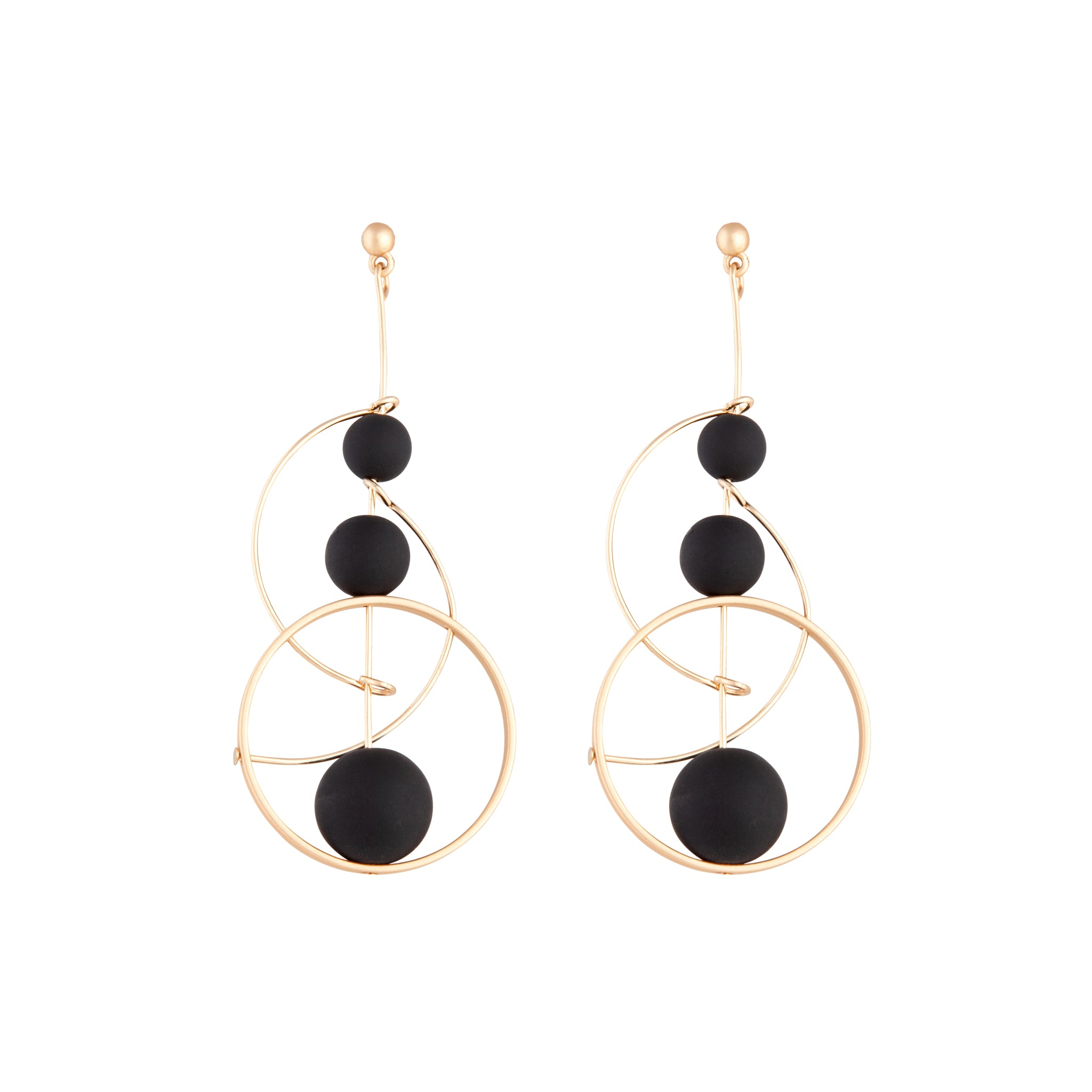 Black Rose Gold Ball Loop Stick Earring