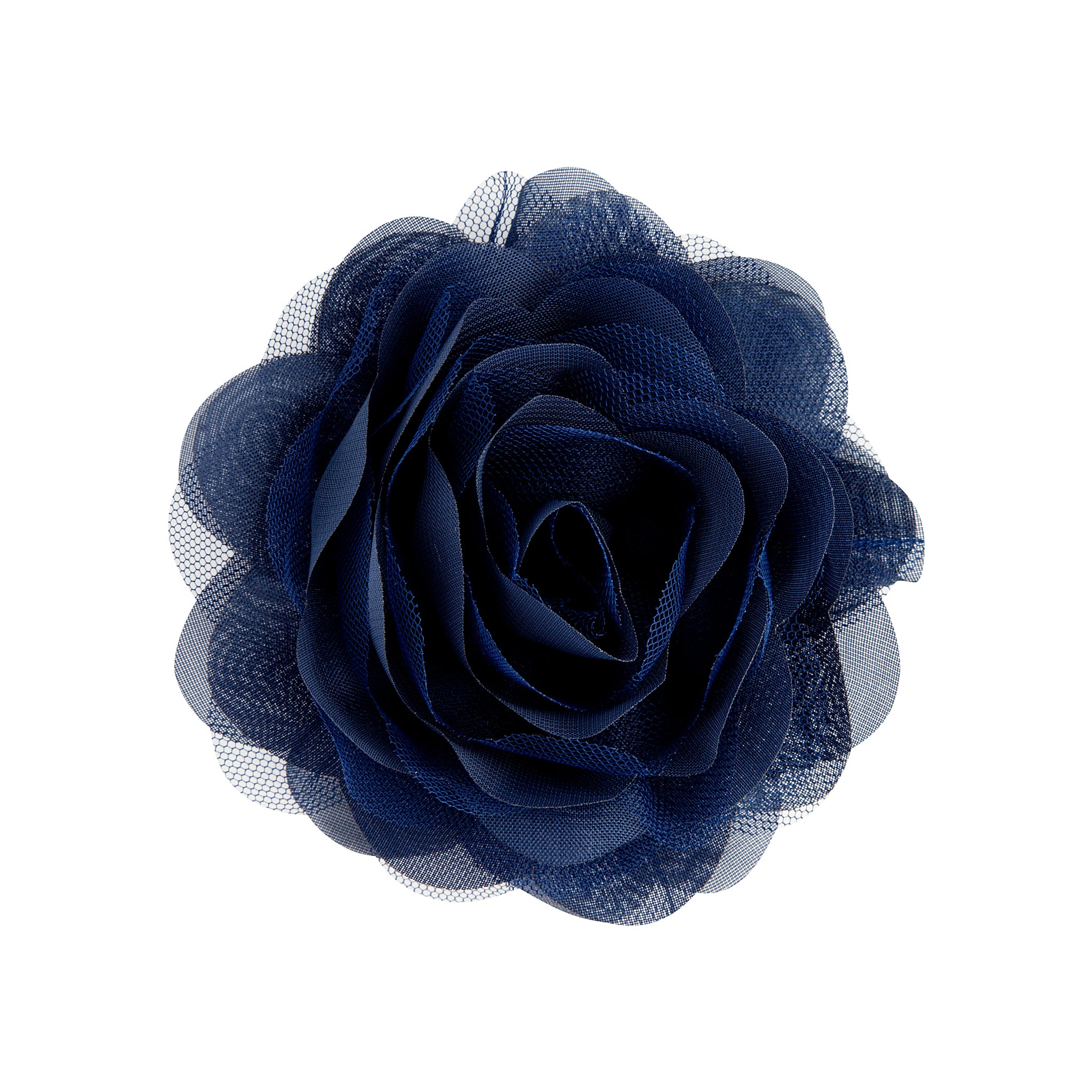 Navy Blue Mesh Flower Clip