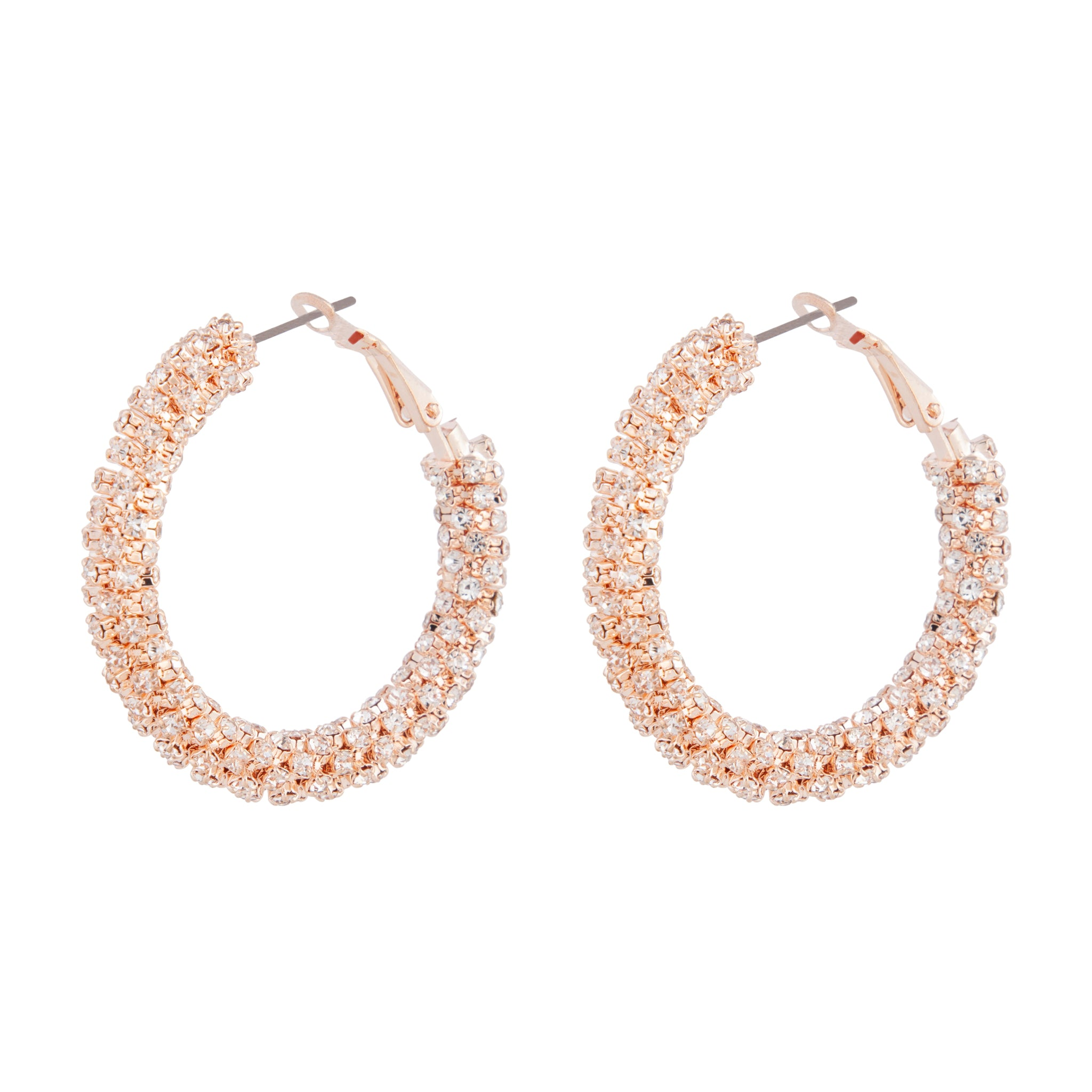 Rose Gold Diamante Cup Chain Hoop Earrings