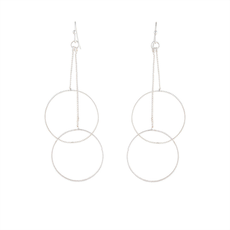 Silver Duo Circle Chain Drop Earring