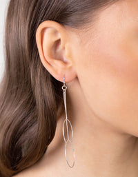 Silver Duo Circle Chain Drop Earring - link has visual effect only