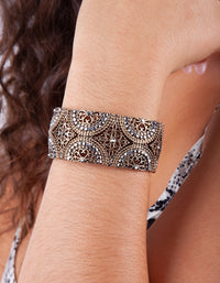 Gold Grey Diamante Filigree Stretch Bracelet - link has visual effect only