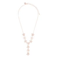 Rose Gold Acrylic And Diamante Flower Y Necklace - link has visual effect only