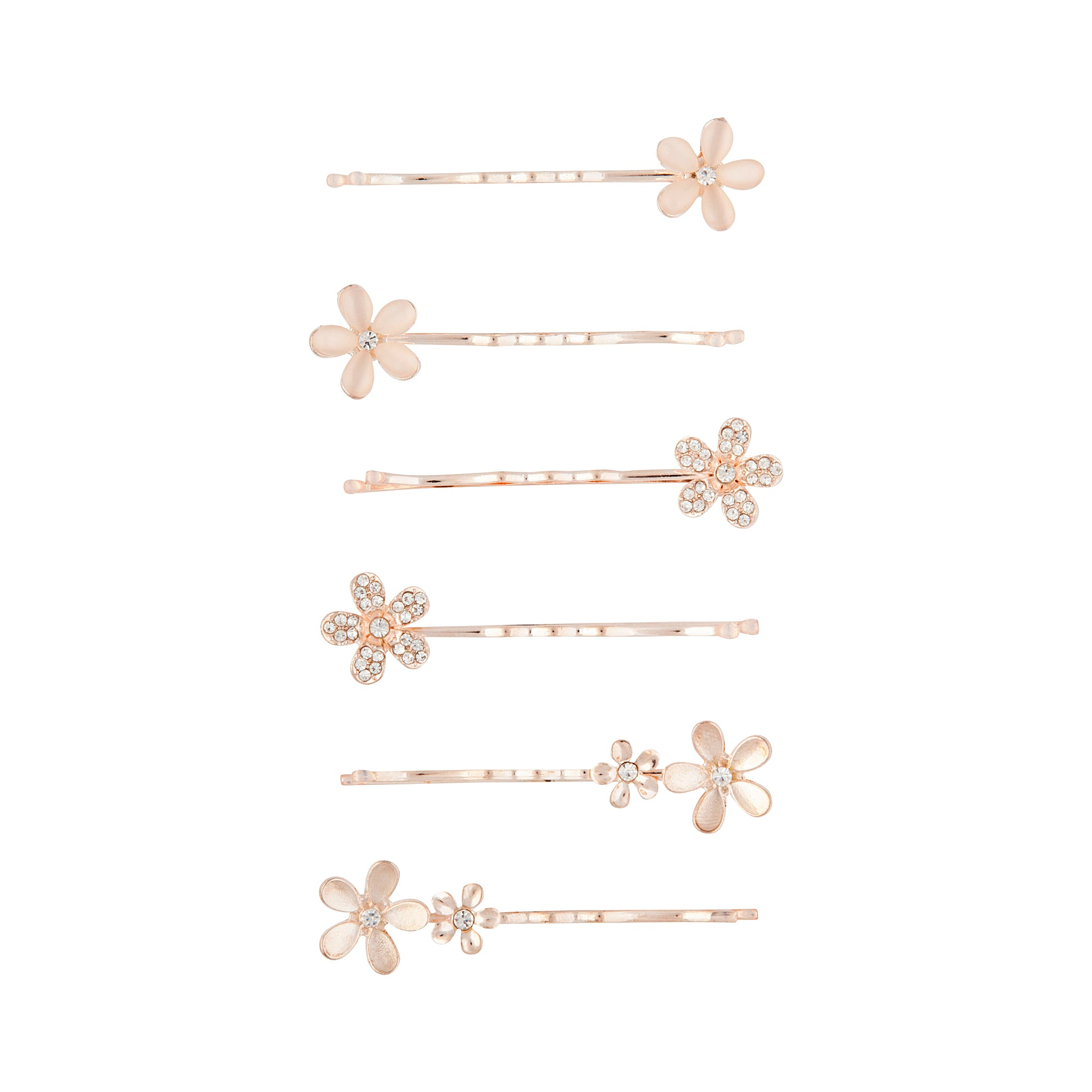 Rose Gold Cat Eye Flower Clip Set