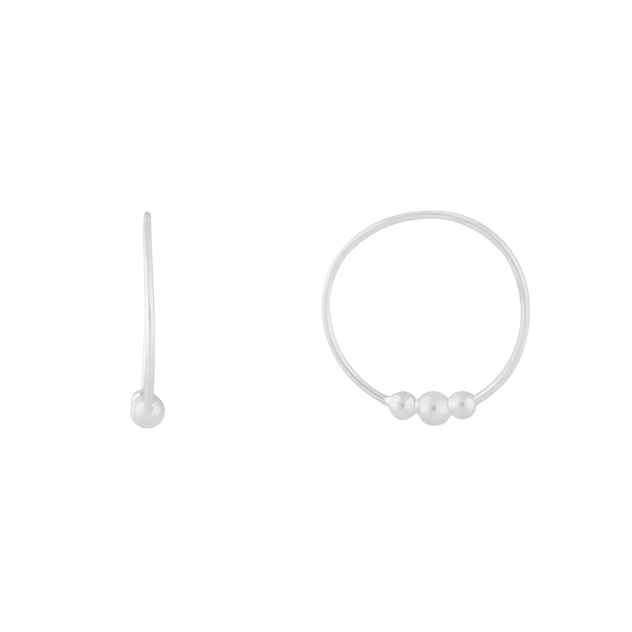 Sterling Silver Beaded Detail Hoops