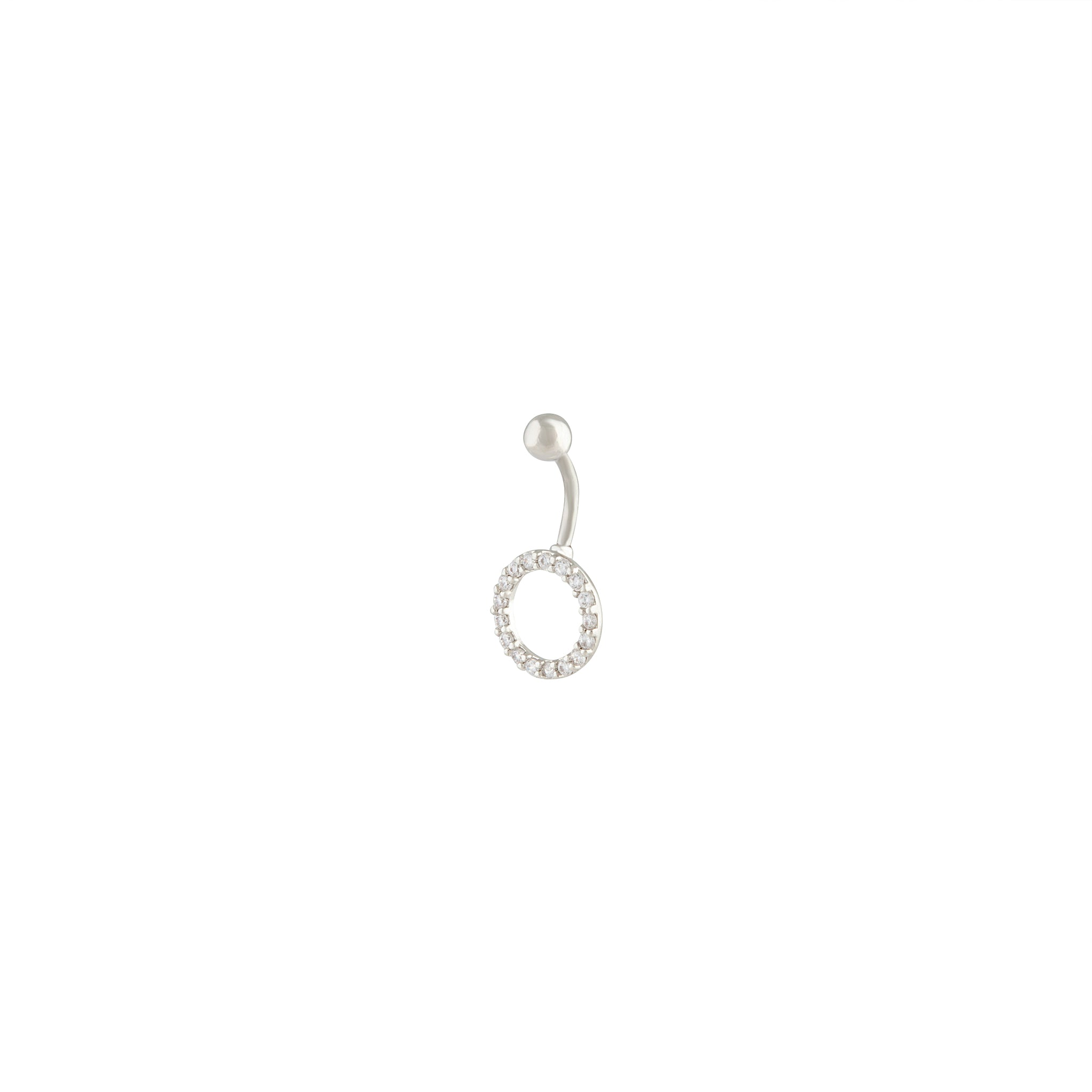 Rhodium Cubic Zirconia Open Ring Belly Bar