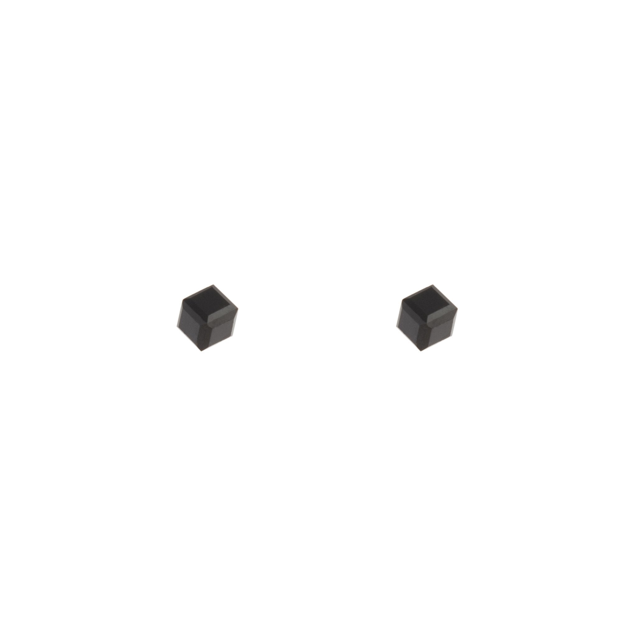Solid Black 3D Cube Stud Earring