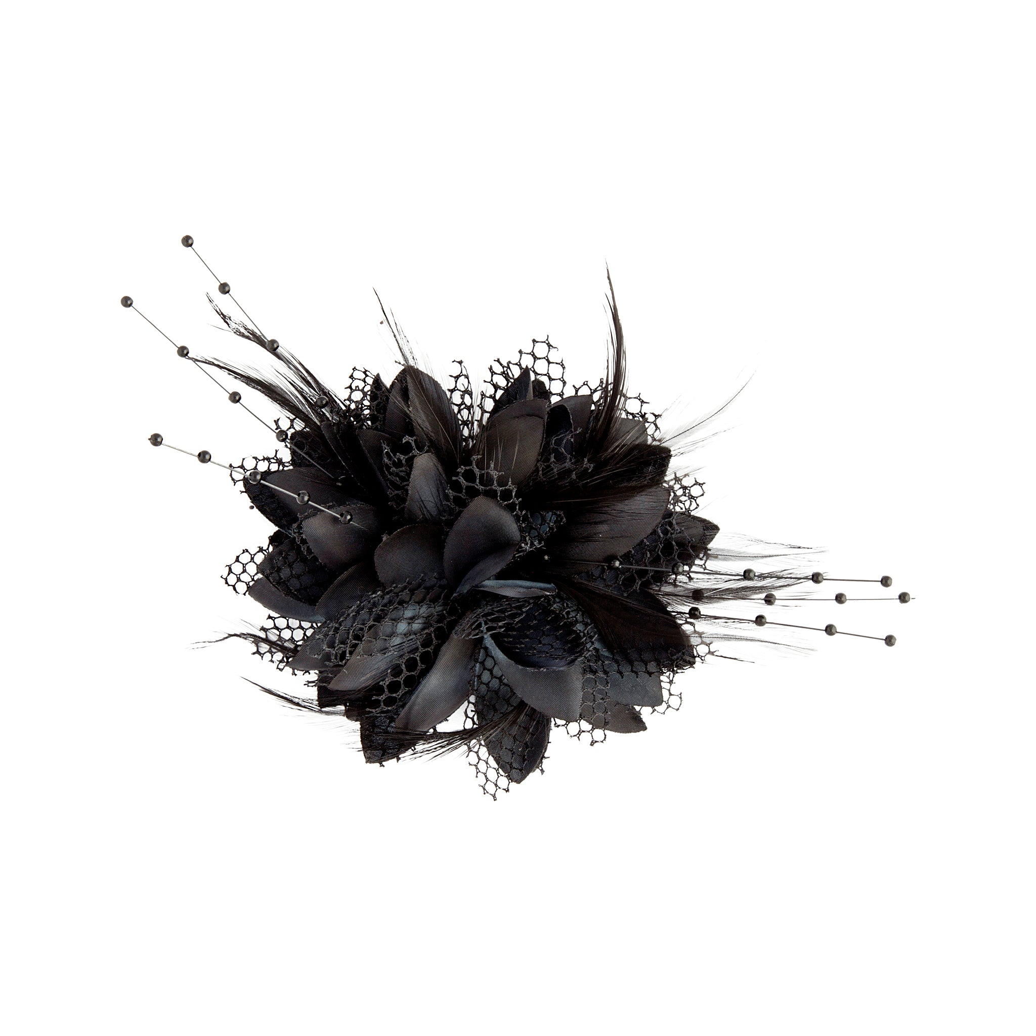Texture Mixed Feather Corsage in Black