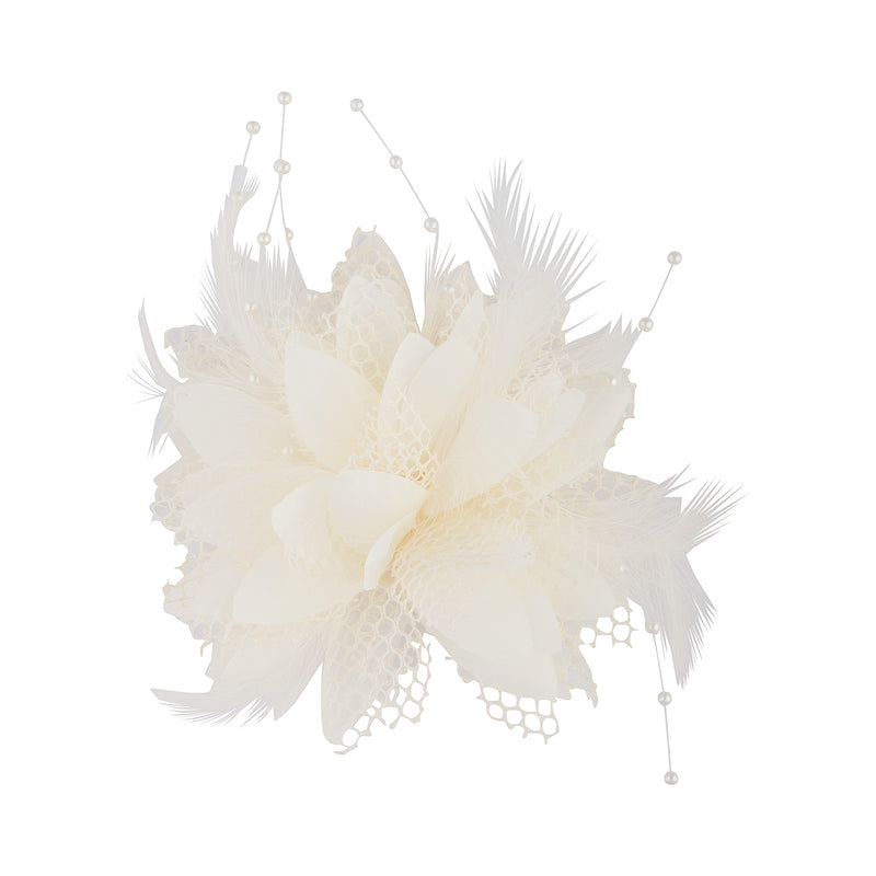 Texture Mixed Feather Corsage in White