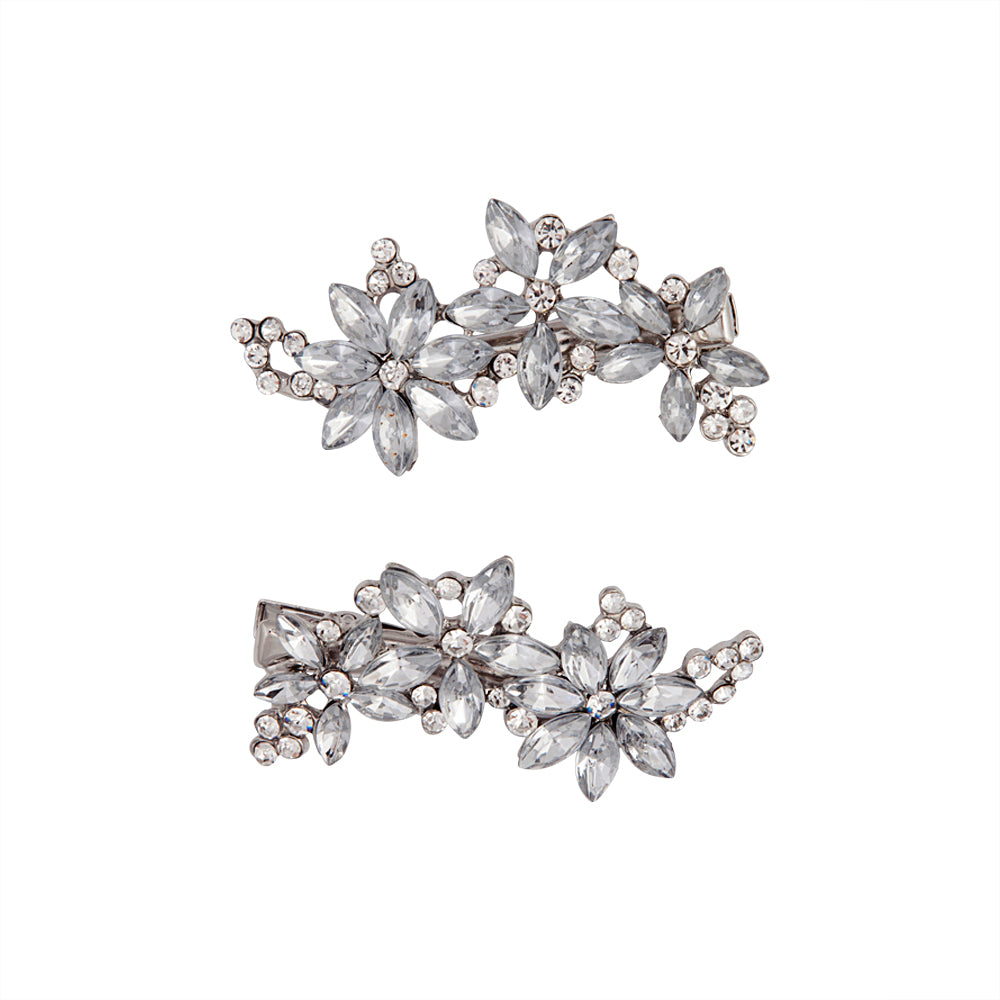 Multi Flower Diamante Clips