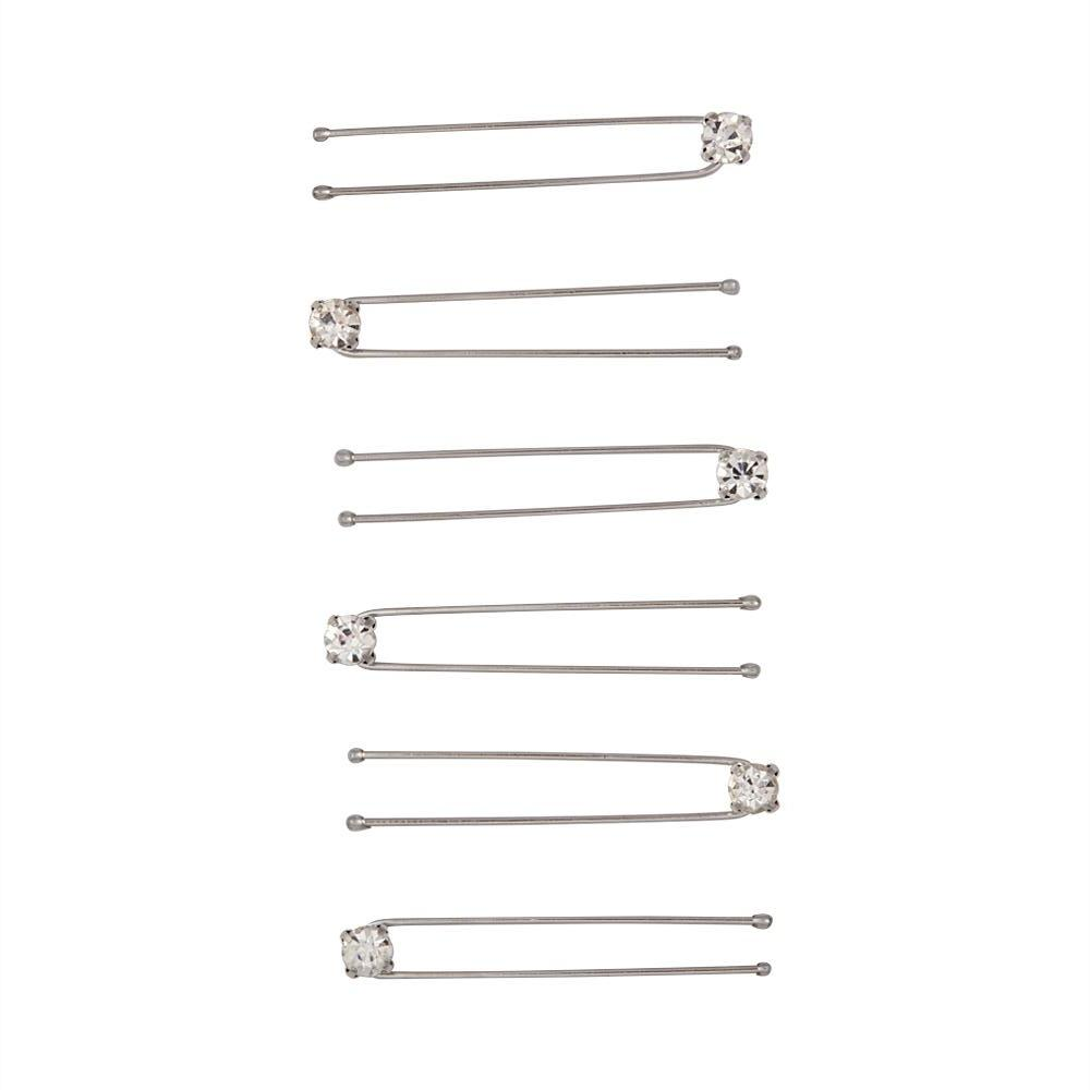 Crystal Stud Hair Pins 6 Pack