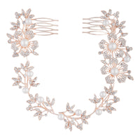 Rose Gold Floral & Diamante Hair Vine - link has visual effect only