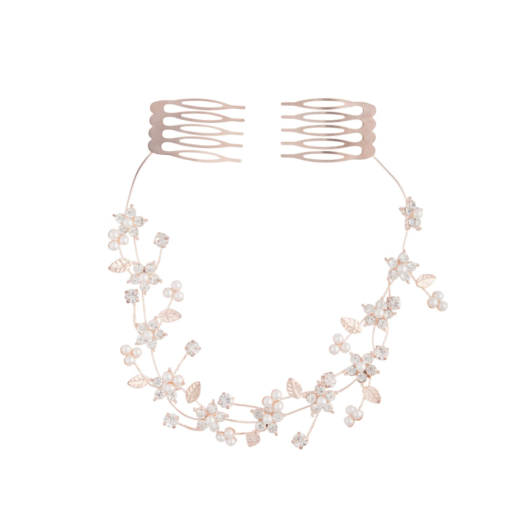 Rose Gold Diamante Flower Pearl Hair Vine