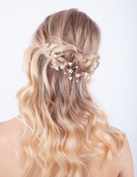 Rose Gold Diamante Flower Pearl Hair Vine - link has visual effect only