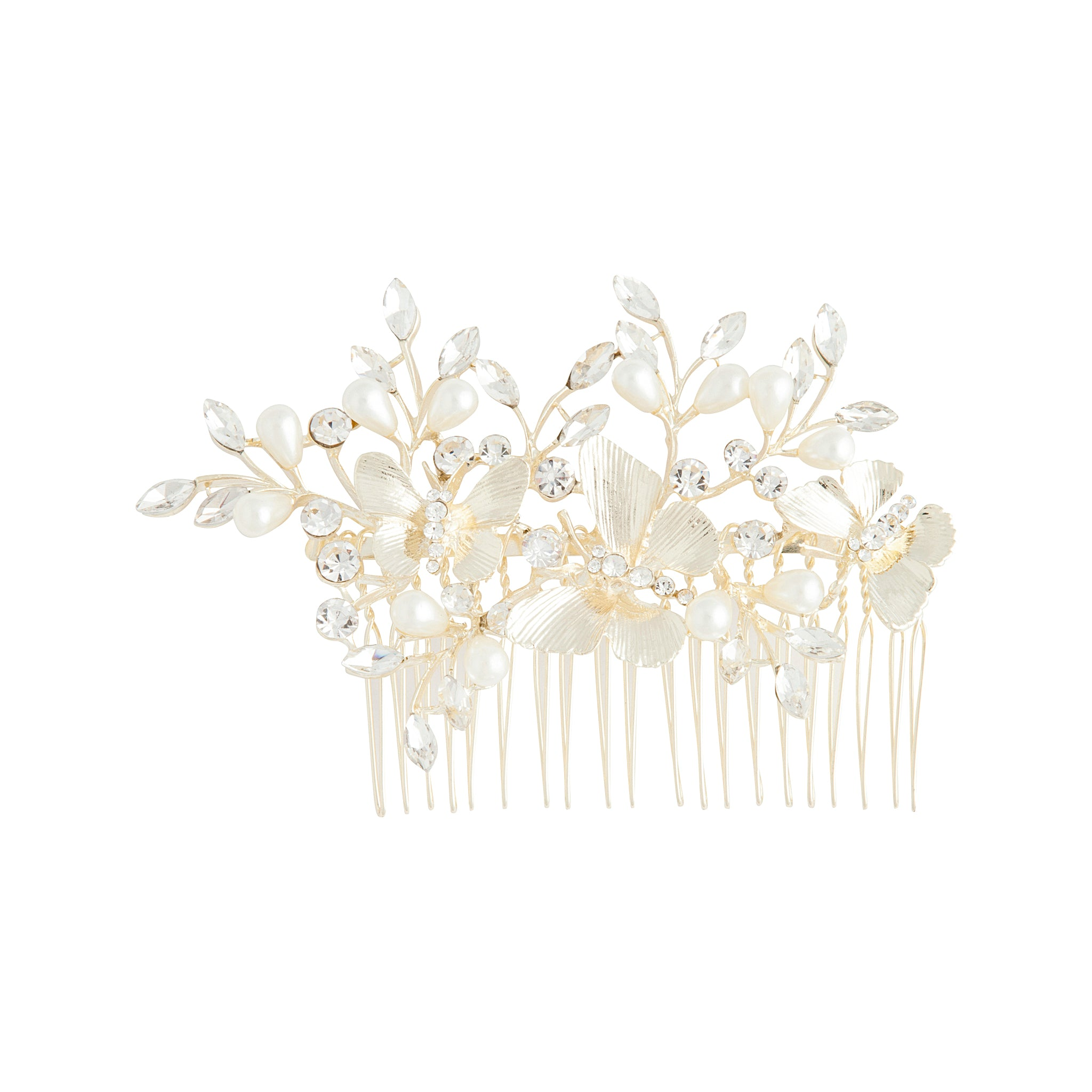 Gold Butterfly Diamante Pearl Comb