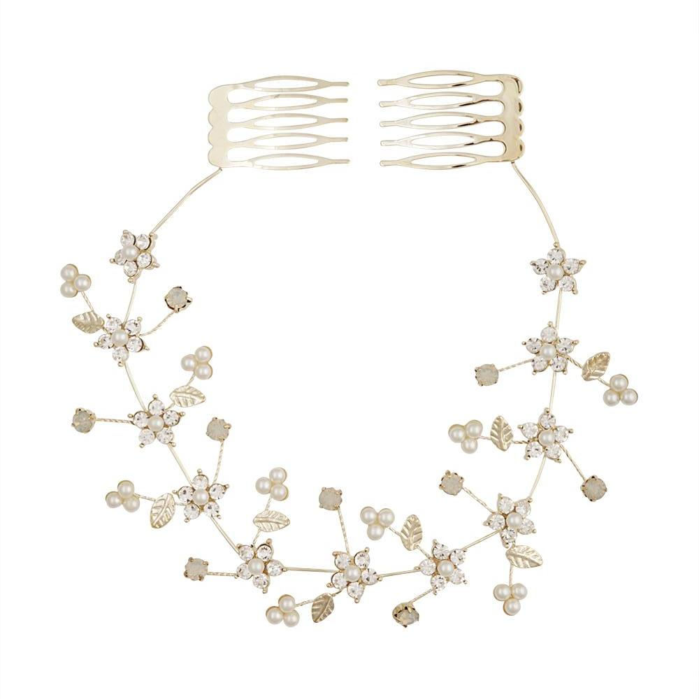 Gold Diamante Flower & Pearly Hair Vine