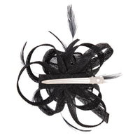 Black Swirl and Feather Clip