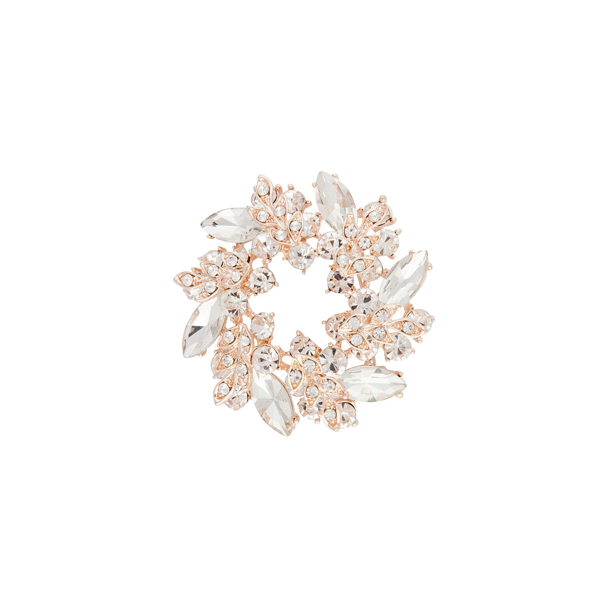 Rose Gold Diamante Leaf Round Brooch