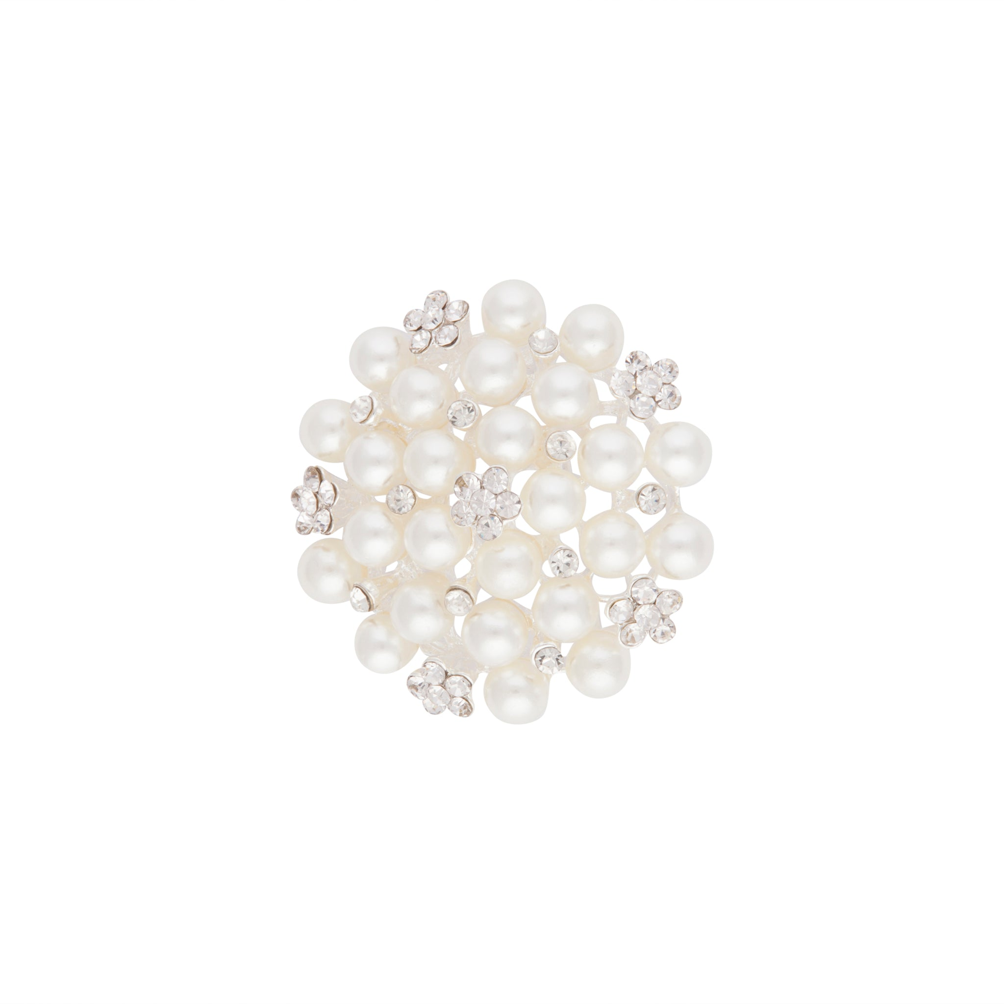 Silver Sparkle Pearl Cluster Brooch