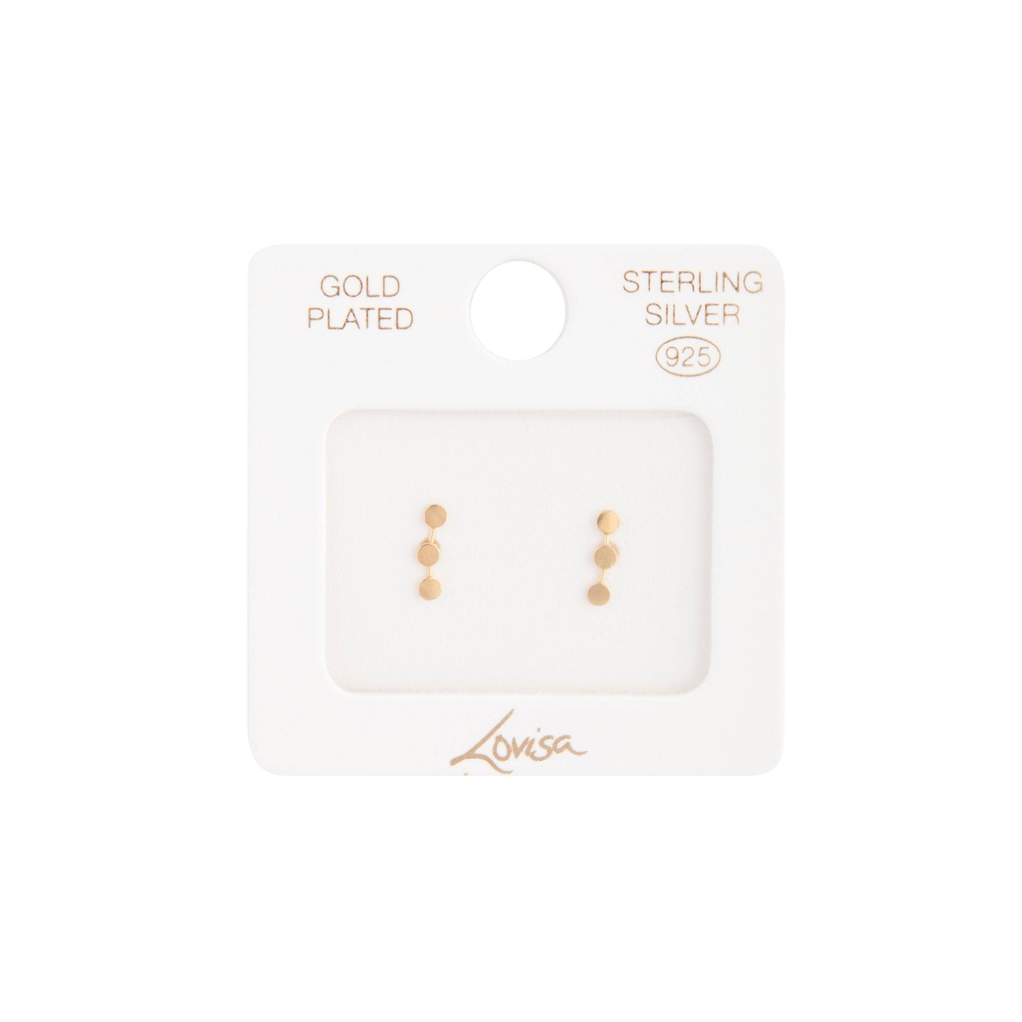 Gold Plated Sterling Silver Triple Dot Stud Earring